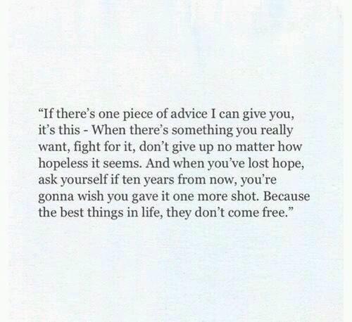 If you don give up i won up